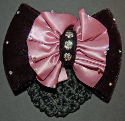 Pink ruched satin and velvet bow ribbon hair bun snood.