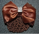 BROWN SATIN VELVET SQUARE RHINESTONE HAIR BUN SNOOD