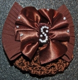 BROWN SATIN RUCHED ON CHIFFON TEXURED HAIR BOW SNOOD