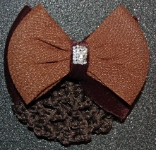 BROWN TEXTURED PATTERN BOW with VELVET HAIR BUN SNOOD