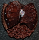BROWN SATIN with VELVET RHINESTONE CENTER ACCENT HAIR BUN SNOOD