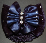 NAVY BLUE RUCHED SATIN AND VELVET BOW RIBBON HAIR BUN SNOOD