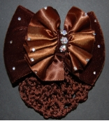 BROWN RUCHED SATIN AND VELVET BOW RIBBON HAIR BUN SNOOD