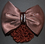 BROWN STRIPED VELVET AND SATIN RIBBON SNOOD