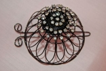 Black Plated Hair Bun Cage with Rhinestones