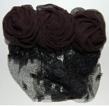 Black Chiffon Rose and Netted Lace Childrens Snood
