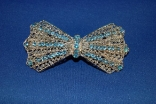 Blue Bow Tie Silver Metal Barrette