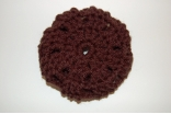 Dark Brown Crocheted Hair Bun Cover Blocked