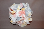 Floral Chiffon Bow Hair Jaw Clip Grey Yellow Peach Combination