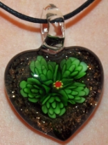 Green and Black Glass Heart Pendant Jewelry