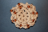 Light Brown Mini Crocheted Hair Bun Cover with Beads Scolloped