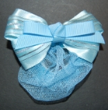 Childrens Light Blue Mini Snood with Barrette Clip Hair Bow