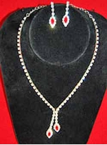 Rhinestone Necklace and Earrings Set with Splash of Red
