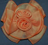 Orange Double Rose Hair Bow Barrette