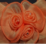 Orange Triple Rose Hair Bow Barrette