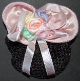 Childrens Pastel Pink Mini Snood Hair Bow with French Clip