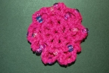Fuschia (Pink) Mini Crocheted Hair Bun Cover with Beads Scolloped