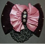 PINK RUCHED SATIN AND VELVET BOW RIBBON HAIR BUN SNOOD
