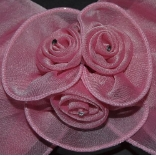 Pink Triple Rose Hair Bow Barrette