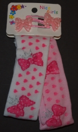 Childrens Stretch Headband Pink and White
