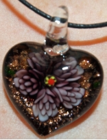 Purple and Black Glass Heart Pendant Jewelry