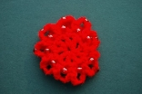 Red Mini Crocheted Hair Bun Cover with Beads Scolloped