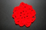 Red Crocheted Hair Bun Cover-Scolloped
