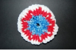 Red White and Blue Crocheted Hair Bun Cover - Blocked