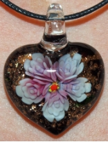 Rose and Black Glass Heart Pendant Jewelry