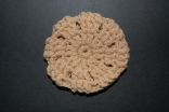 Tan Crocheted Hair Bun Cover-Blocked