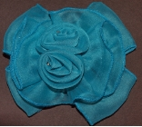 Teal Blue Double Rose Hair Bow Barrette