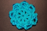 Turquoise Mini Crocheted Hair Bun Cover with Beads Scolloped