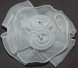 White Double Rose Hair Bow Barrette