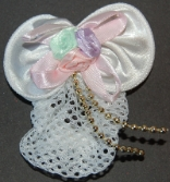 Childrens White Pastel Mini Snood with Gold Bead Accent