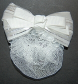 Childrens White Mini Snood with Barrette Clip Hair Bow