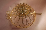 Gold Plated Rhinestone Hair Bun Cage