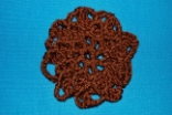 Brown Crocheted Hair Bun Cover Scolloped