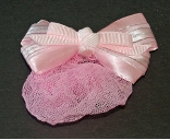 Childrens Pink Mini Snood with Barrette Clip Hair Bow