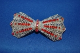 Red Rhinestone Bow Tie Silver Metal Hair Barrette
