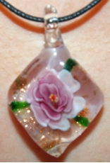 Pink Rose Diamond Shaped Glass Pendant
