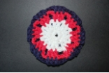 Red White and Navy Hair Bun Cover Blocked