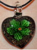 Green and Black Glass Heart Pendant Jewelry (SKU: GJPNDGREE001)