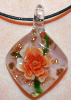 Orange and Green Diamond Shaped Glass Pendant (SKU: GJPNDIAORNG001)