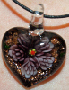 Purple and Black Glass Heart Pendant Jewelry (SKU: GJPNDPRPL001)