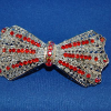 Red Rhinestone Bow Tie Silver Metal Hair Barrette (SKU: JBARRR001)