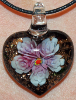 Rose and Black Glass Heart Pendant Jewelry (SKU: GJPNDROSE001)