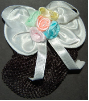 Children's White Mini Snood Hair Bow (SKU: HCSMINIW001)