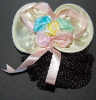 Children's Pastel Yellow Mini Snood Hair Bow with French Clip (SKU: HCSMINIYEL001)