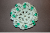 Sage Green Mini Crocheted Hair Bun Cover with Beads Scolloped (SKU: HBC-GRBS001)