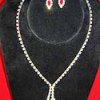 Rhinestone Necklace and Earrings Set with Splash of Red (SKU: JNKL-689)